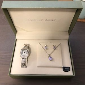 Cote d'azur watch earring necklace set NWT